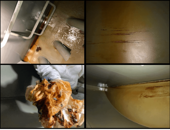 Picture of lube oil tank reserovir cleaning before and after